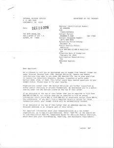 501c3 confirmation letter