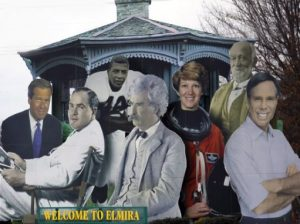 elmira welcome sign with figures of famous people